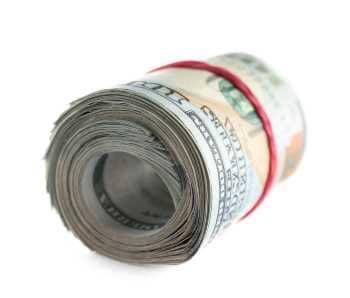 A roll of dollar bills