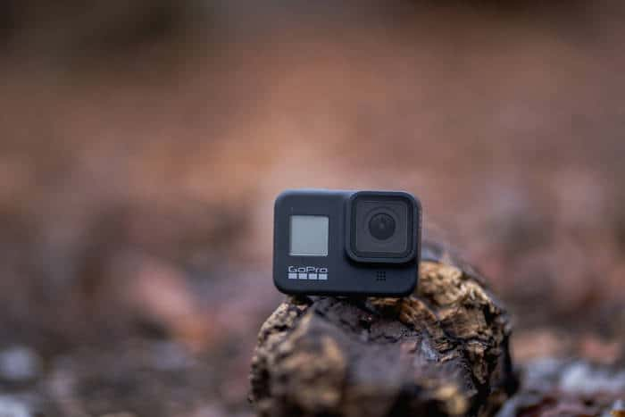 action camera mounted in the woods